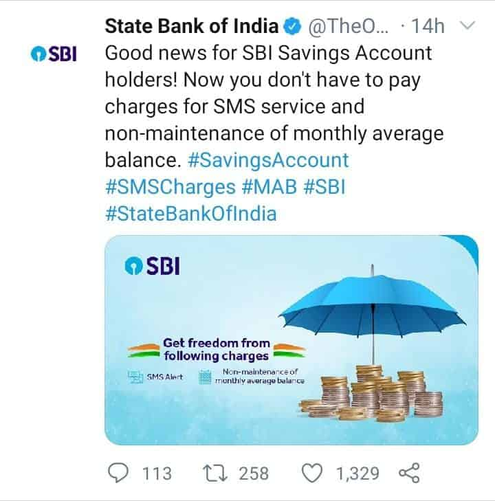 SBI NEW UPDATE TWEET